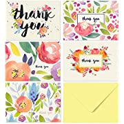 40 Thank You Cards with Envelopes - Floral Watercolor with Yellow Envelopes - Weddings Bridal Showers Baby Showers
