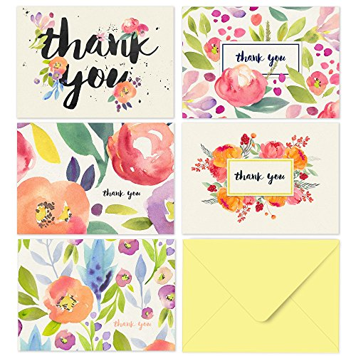 Thank You Cards – 40 Floral Thank You Notes for Your Wedding, Baby Shower, Business, Anniversary, Bridal Shower – Watercolor Flower Cards with Envelopes – Blank Inside