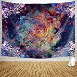 Sylfairy Mandala Tapestry Wall Hanging Bedding Tapestry Hippie Mandala Tapestry Beach Throw Tapestry Table Cover Curtain Home Decoration Wall Art Bedroom Dorm Decor(59' x 51',Galaxy Mandala)