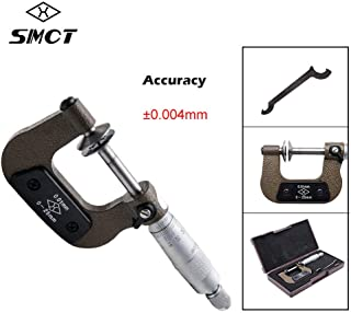 Micrometro externo MASO mecánico ingeniería exterior rosca micrometro, rango 0 – 25 mm, precisión 0,004 mm, cromo satinado y mangas