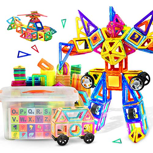 Briques de construction magnétiques, aimants pour enfants aimants magnétiques 1-2-3-6 ans garçons et filles assemblés puzzle blocs de construction jouets, enfants blocs de construction magnétiques