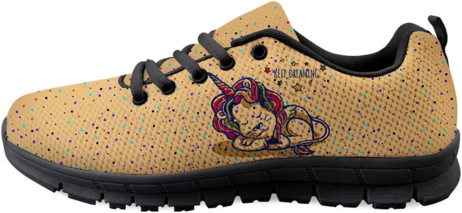 Owaheson Lace-up Sneaker Training shoes Mens Womens Lion Unicorn Keep Dreaming