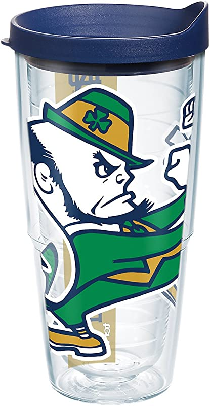 Tervis 1277402 Notre Dame Fighting Irish Leprechaun Colossal Tumbler With Wrap And Navy Lid 24oz Clear