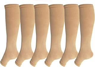 SKUNDU Open Toe Toeless Compression Socks 6 Pairs For Women Men 15-20 mmHg Calf Support Compression Sleeve (L/XL, Nude)