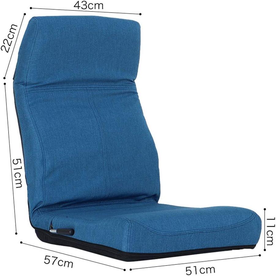 LSRRYD 14 Vitesses Fauteuil Sol Ajustable Chaise De Méditation Sofa Paresseux avec Support Dorsal - Lin en Coton Sièges Plancher Pliables Doux pour Yoga sur Chaise Jeu Khaki