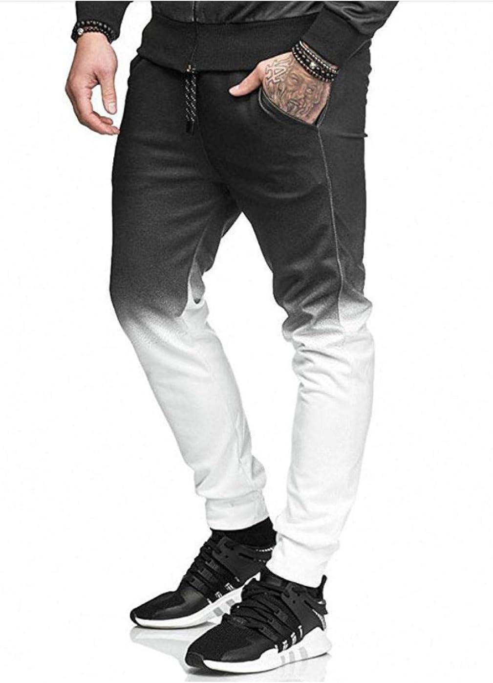 Meaeo Printemps Automne Pantalons Hommes Casual Taille Élastique Maigre Longue Gradients Fitness Pantalon Pantalon De Survêtement Mâle Cargos Joggers Blanc