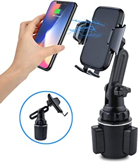 Car Wireless Charger Phone Mount, Universal Cup Holder Phone Mount Qi Charger Fast Wireless Charging Car Cup Phone Holder for iPhone, Samsung, Moto, Huawei, Nokia, LG, Smart-Phones …
