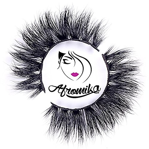 3D Mink False Eyelashes by Afromika Long Thick Dramatic Look Handmade Reusable Mink Lashes For Makeup 1 Pair Pack in Style Paris