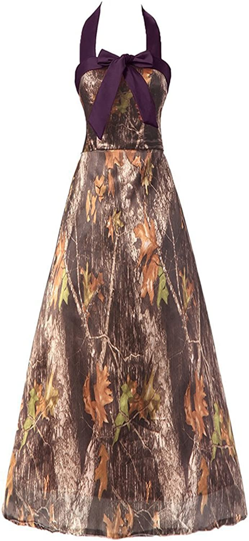 Anlin Cheap Homecoming Dress Camo Wedding Party Dress Short Halter Bow AN147