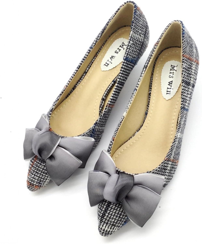 Owen Moll Women Pumps, High Heels Bowknot Pointed Toe Slip-On Ladies Single shoes