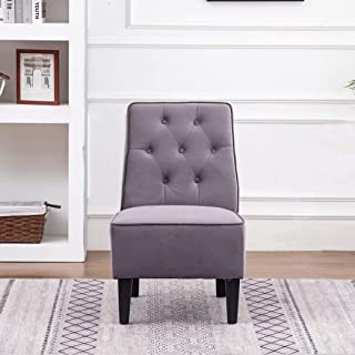 Haobo Armless Accent Chair, Button Tufted Slipper Chair Side Chair Single Sofa for Dining Room Living Room Bedroom Funiture (One Seat Gray 2)