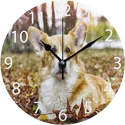 L.Fenn diameter seizoensgebonden Walisische Corgi Dog Design Wandklok Rond Silent Decoratief