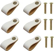 6 stuks echt lederen handvat trekt, lederen kast lade handvat moderne lederen kast deurknoppen pull handvat met schroeven ...