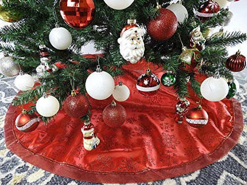 """47.2"""" Red Fabric With Red Snow Christmas Tree Skirt - Red/Snow"""
