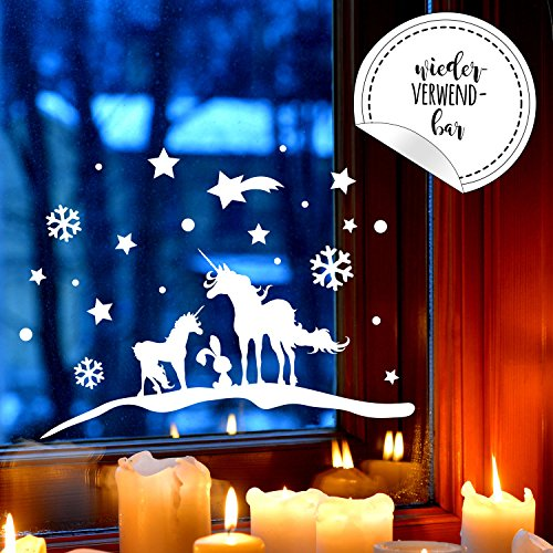ilka parey wandtattoo-welt Fensterbild Einhörner Winter -WIEDERVERWENDBAR- Fensterdeko Einhorn Fensterbilder Winterlandschaft 28cm breit x 14cm hoch + Sterne & Schneeflocken M2259