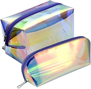 Holographic Makeup Bag, F-color 2 Pack Fashion Cosmetic Travel Bag Large Toiletry Bag Makeup Organizer for Women, Purple