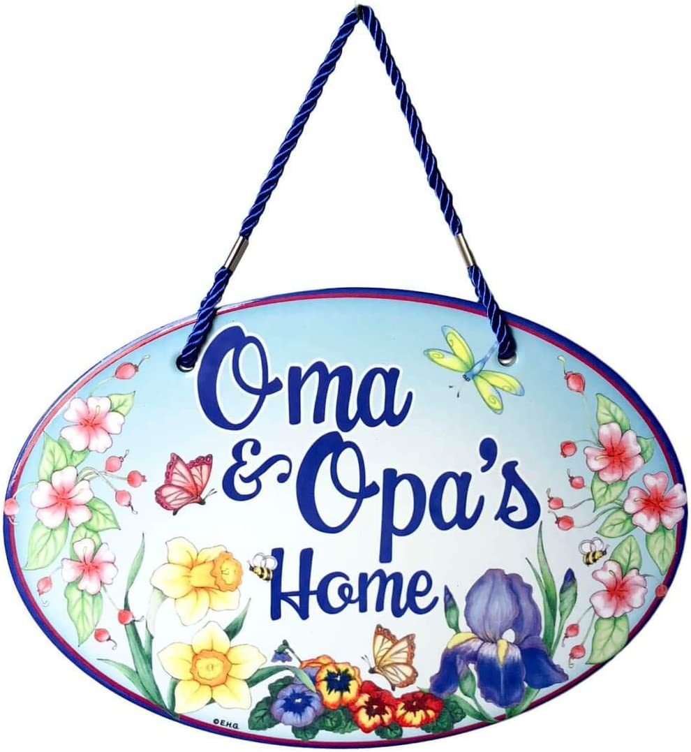 Oma  Opa's Home with Artwork of Spring Flowers Welcome 11x8 Cer