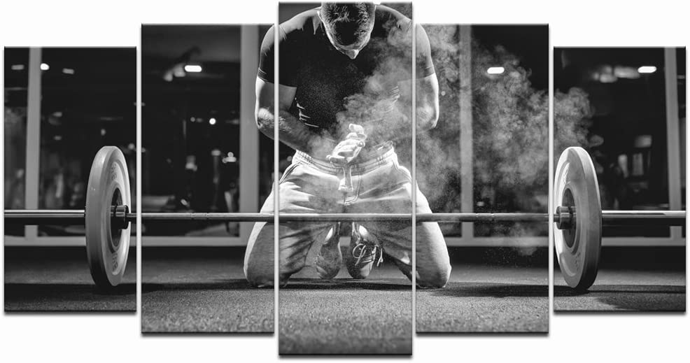 LevvArts - Black and White Canvas Excellent Wall Art Picture 2021 model Weightlifting