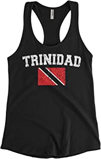 Cybertela Women's Faded Distressed Trinidad Flag Racerback Tank Top