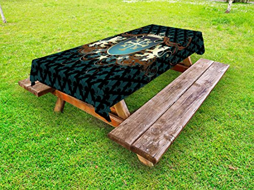 Ambesonne Medieval Outdoor Tablecloth, Heraldic Design from Middle Ages Coat of Arms Crown Lions and Swirls, Decorative Washable Picnic Table Cloth, 58' X 120', Teal Cinnamon