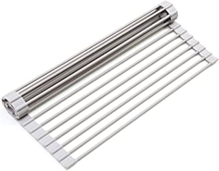 "Surpahs Over The Sink Multipurpose Roll-Up Dish Drying Rack (Warm Gray, 17.5"" x 13.1"" - Small)"