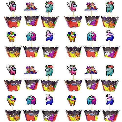 Among Us Cupcake Topper Wrapper,BKJJ Decoración para Cupcakes y Envoltorios para Fiestas, para Niños Niñas Regalo Decoraciones De Fiesta De Cumpleaños Fiesta (96 Pack)