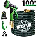 100 ft Expandable Garden Hose,100 Feet Leakproof Lightweight Garden Water Hose with Spray Nozzle,Superior Strength 3750D Expanding Garden Hoses,Durable Outdoor Gardening Flexible Hose for Watering