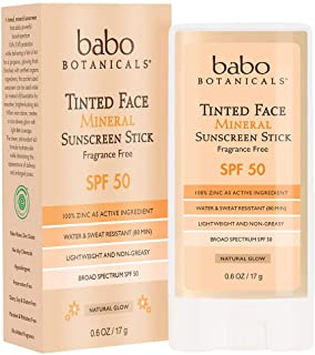 Babo Botanicals Tinted Moisturizing Face Mineral Stick Sunscreen SPF 50 with 70+% Organic Ingredients, Water-Resistant, Fr...