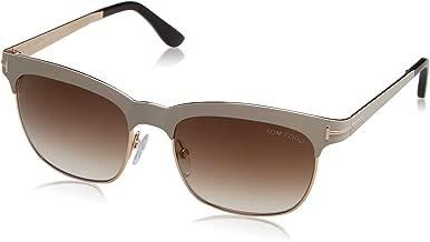 Tom Ford Elena Sunglasses FT0437 25F, Ivory/Gold Frame, Brown Gradient Lens, 54