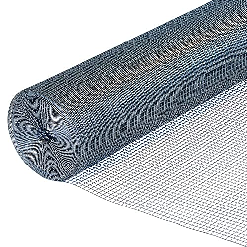 PS Direct Hardware Cloth - 48 Inch x 100 Foot Multipurpose Galvanized Mesh – 1/4 Inch Square Openings, Great for Chicken Coop, Gutter Guard Craft Projects and Garden Use, 23 Gauge, 1 Roll