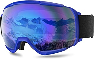 HUBO SPORTS Ski Goggles Snowboard Glasses for Men Women Youth, OTG Anti-Fog Snow Goggles with 100% UV Protection Dual Lens for Skiing Skating