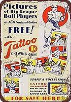なまけ者雑貨屋 アメリカン 雑貨 ナンバープレート 1933 Tattoo Gum and Baseball ヴィンテージ風 ライセンスプレート メタルプレート ブリキ 看板 アンティーク レトロ