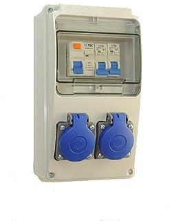 AW-TOOLS Baustromverteiler/Wandverteiler 2 x 230V/16A Schuko  LS und FI verdrahtet