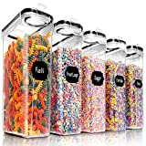 Airtight Food Storage Containers Set, PRAKI 5PCS BPA-Free Plastic Cereal Canister Set with Lids, Kitchen Pantry Organization & Storage, Perfect for Sugar, Baking Supplies - 20 Lables & Mark (4L Black)