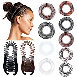 11 Pieces Full Circular Stretch Comb Flexible Hair Combs Headband Tooth Interlocking Banana Combs Plastic Hair Wrap Hairband Holder for Women Hair Accessories