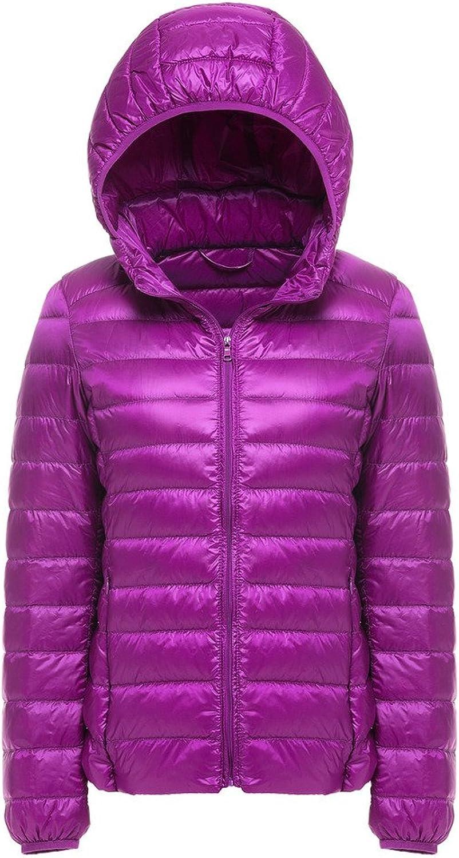 JSUN7 Women's Ultra Light Hooded Down Jacket Short Outerwear Coat