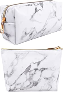 Marble Makeup Bag,2 Pack Marble Cosmetic Bag Small Makeup Pouch for Purse Waterproof Marble Pattern Cosmetic Pouch