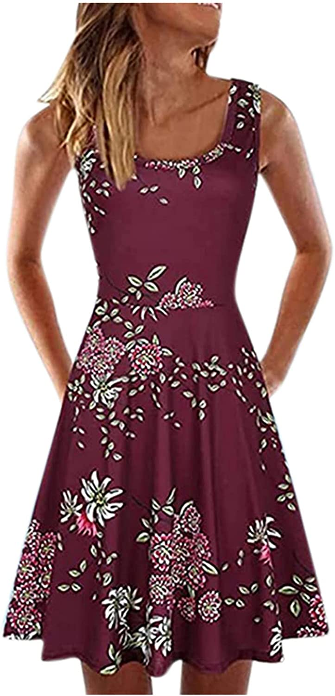 Oiumov Summer Dresses for Women Knee Length Dress Casual Sleeveless Printed A-line Dress Beach Cover up Boho Swing Dress