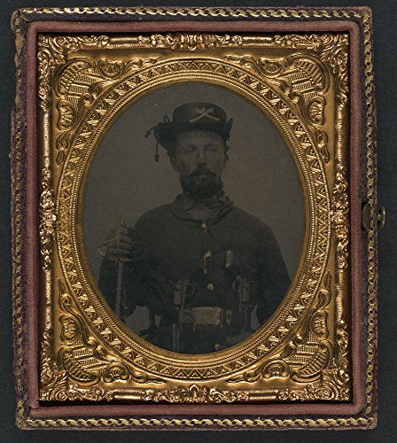 Historic Photos Unidentified soldier in Union cavalry uniform and Hardee hat with cavalry saber and dual revolvers