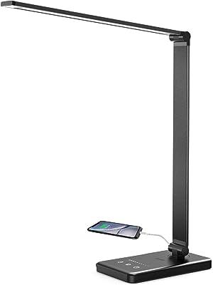 Lacmisc Lámpara Escritorio LED, Flexo de Escritorio, Lámparas de Mesa USB Regulable (5 Modos,10 Niveles de Brillo,Temporizador de 30/60min) Lámpara de Mesa,Lámpara de Oficina