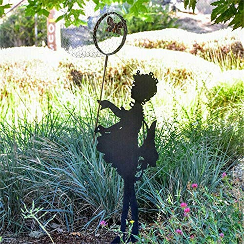 Yard Stakes Silhouette - Butterfly Girl Large Vintage Metal Silhouette Sculpture for The Garden Yard Art Memorial Sculpture/Shadow Art for Garden Walls Garden Figurines Outdoors Spring Gift (A)
