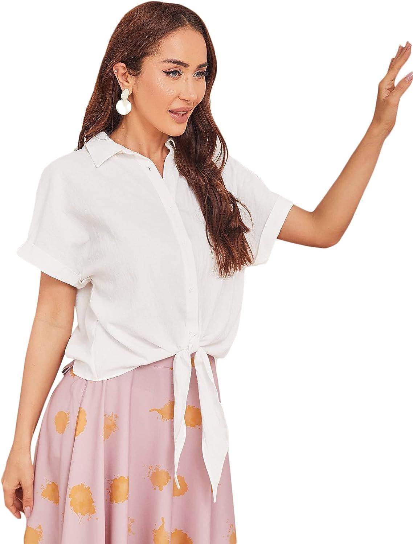 Milumia Women's Button Down Tie Hem Collared Shirt Cuffed Short Sleeve Blouse Top