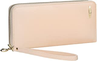 Clutch Wallet, COCASES RFID Protection Women Premium PU Leather Zip Purse Organizer for 2 Cell Phones, Cash and Cards with Coin Pocket and Wristlet (Beige)