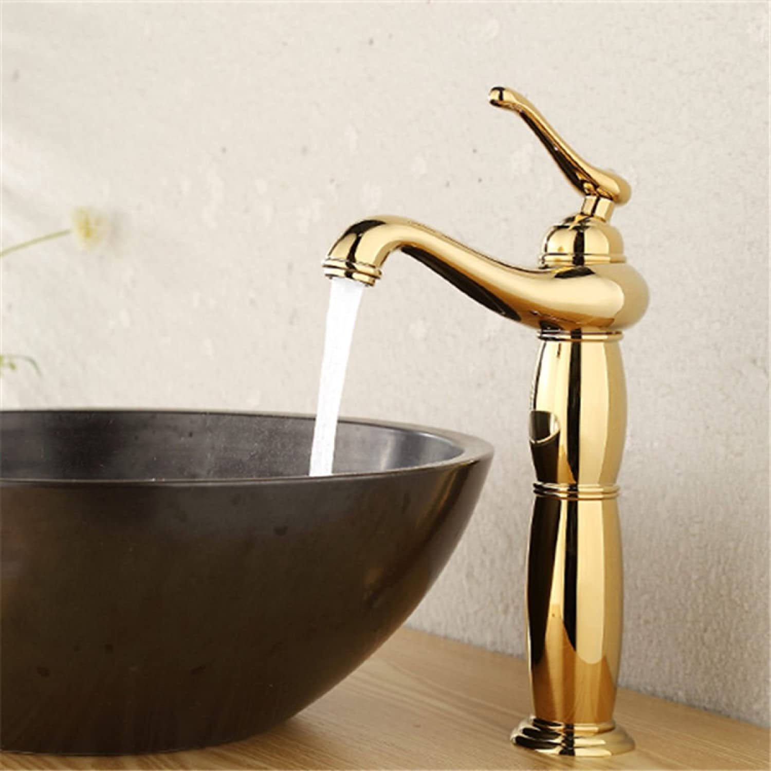 LDONGSH Copper Single Hole Hot And Cold Retro gold European Style American Style Satin Finish Wash Basin Faucet