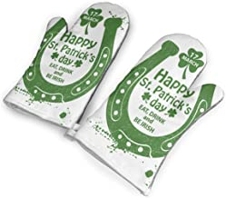 Celebration with Horseshoe and Shamrock Art Oven Mitts Cooking Gloves 480 F Heat Resistant, Non Slip Grip Pot Holders Kitchen Oven BBQ Grill Fire Pits Cooking Baking