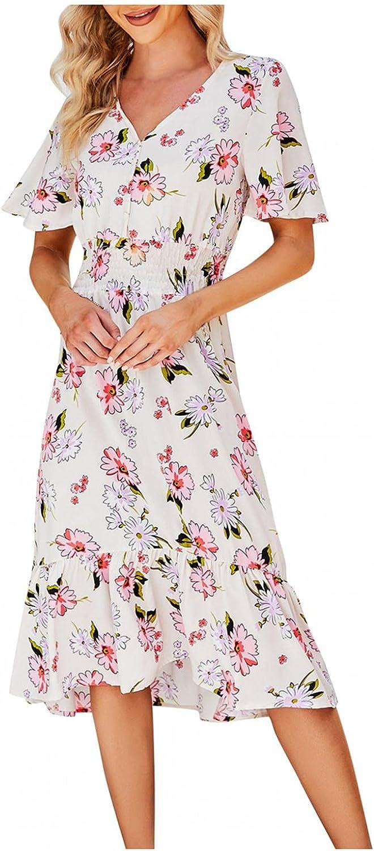 Summer Boho Dresses for Women Short Sleeve T Shirt Casual Beach Dress V-Neck Floral Print Midi Sundress