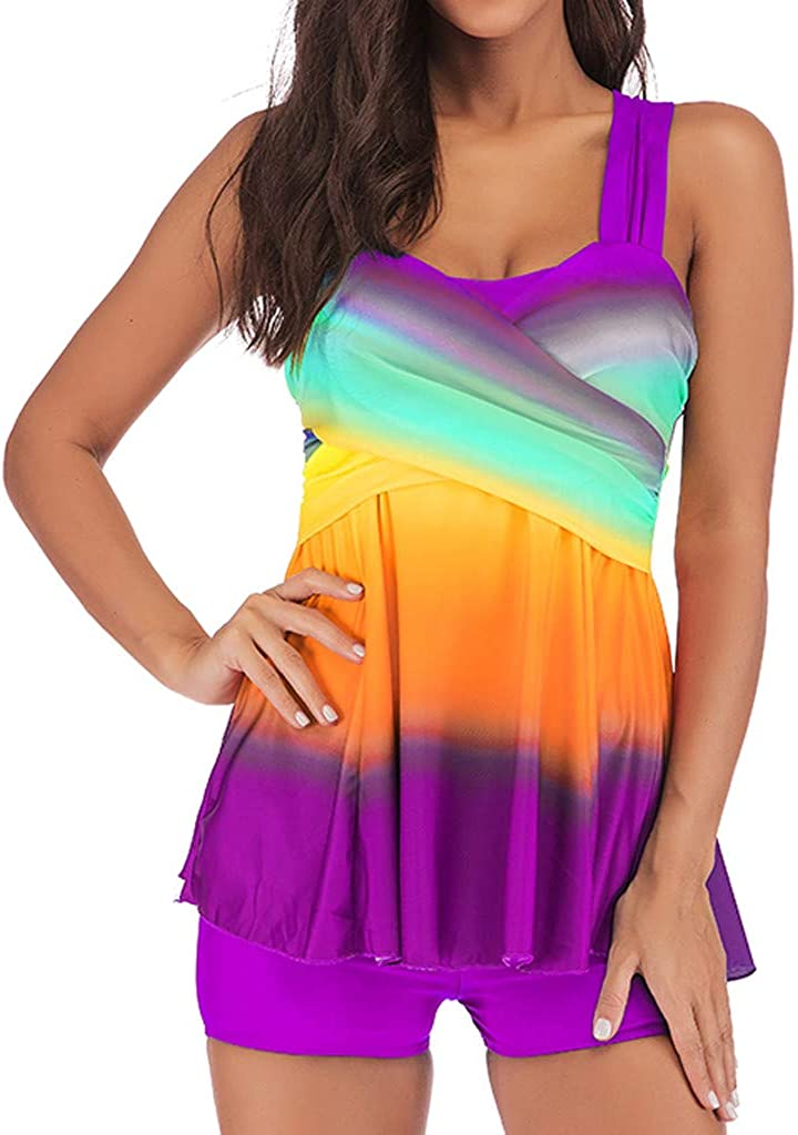 Tomppy Women Plus Size Swimsuits Tankini Swimwear Sleeveless Gradient Tank Tops + Boyshorts Beachwear Bathing Suits