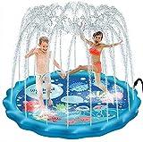 PELLOR Tapis d'eau Enfant Jets Pataugeoire Jeux Extérieur Activite Plein Air Enfants pour Jardin (170cm)