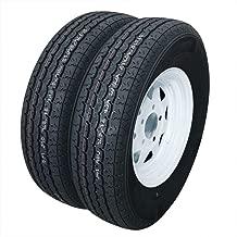 Million Parts 2-Pack Trailer Tires with Rims ST175/80R13 6PR 13'' x 4.5'' Load C 5 Lug White Spoke