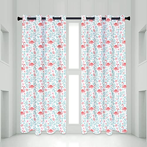 QIYI Pink Flamingos Flock Blackout Curtain Panels, 2 Panel Sets Summer Aqua Blue Green Leaf Thermal Insulated Treatments Curtains, Home Décor Window Drapes for Living Room Girls Bedroom, 52 x 84 Inch
